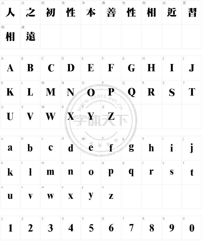 王汉宗超明体繁的字符映射图