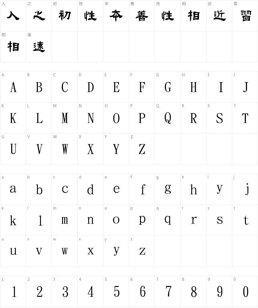 金梅毛隶破裂字繁的字符映射图
