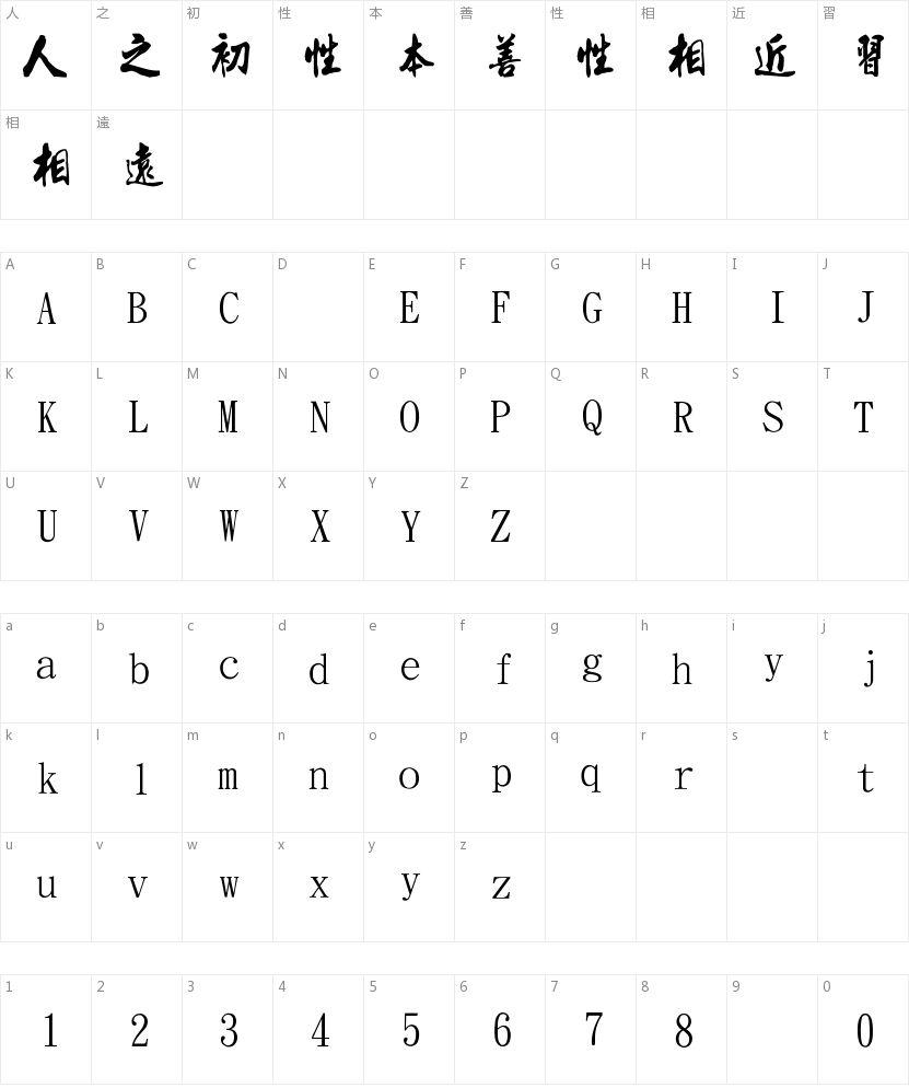 金梅流行书的字符映射图