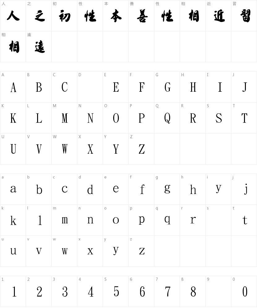 金梅毛匾行的字符映射图