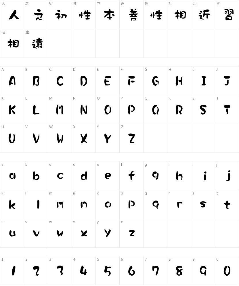 华康墨字体的字符映射图