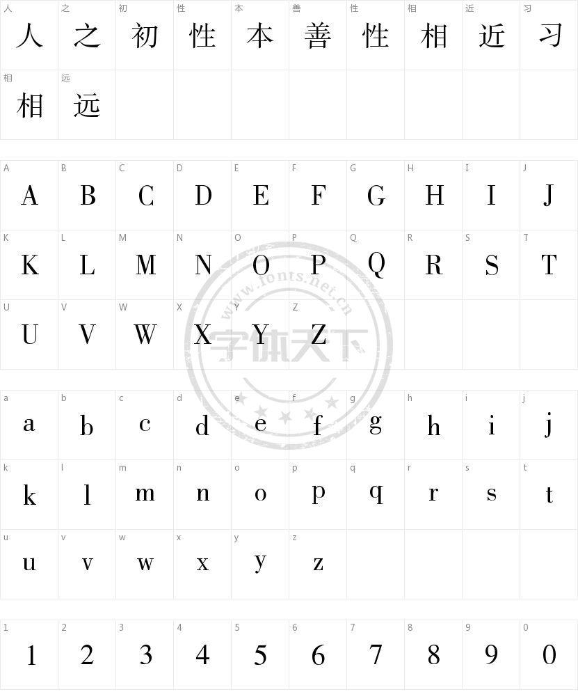 方正书宋简体的字符映射图