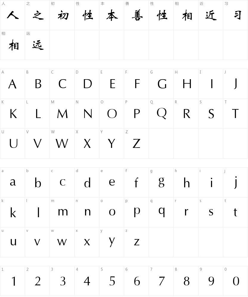 方正魏碑简体的字符映射图