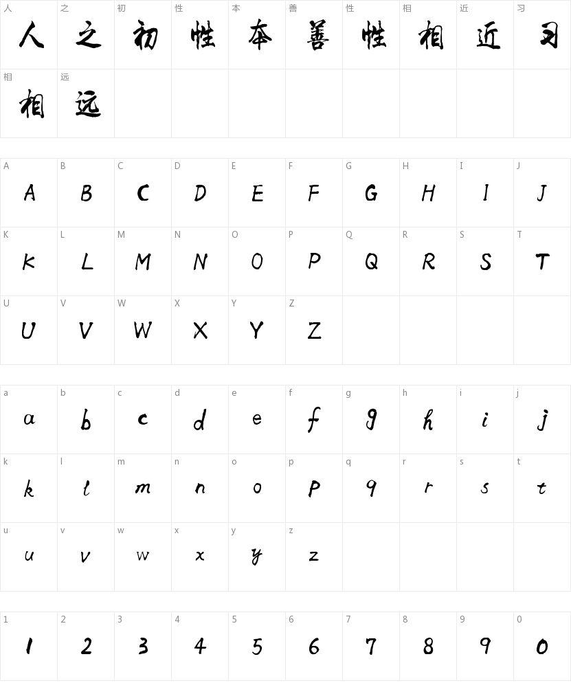 李旭科毛笔行书的字符映射图