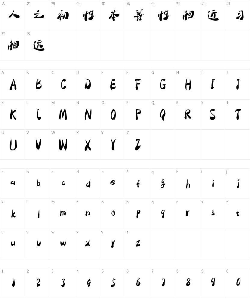大梁字体库的字符映射图