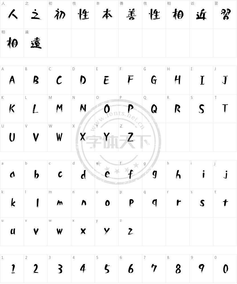 白舟白雨书体的字符映射图