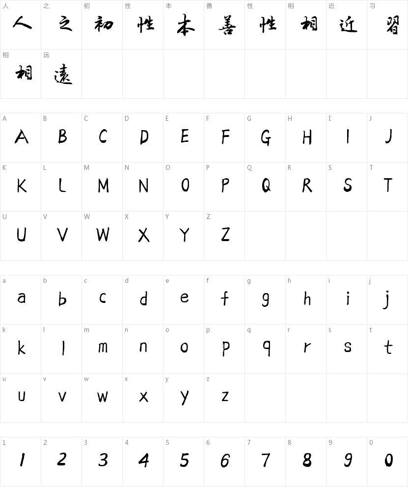 方正字迹-吕建德行楷繁体的字符映射图