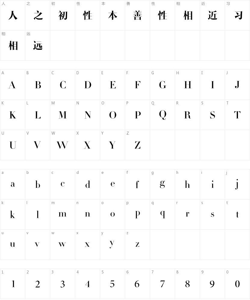 造字工房尚雅常规体的字符映射图