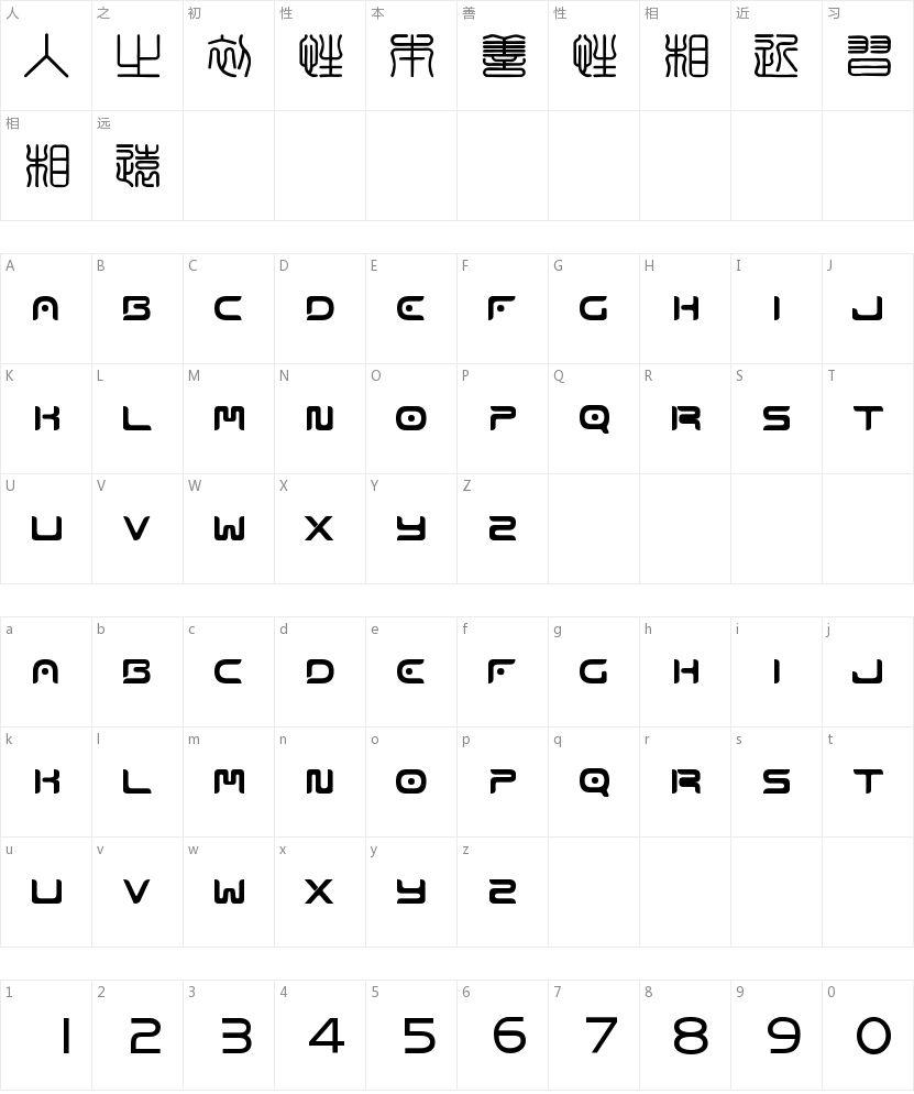 方圆印章篆体的字符映射图