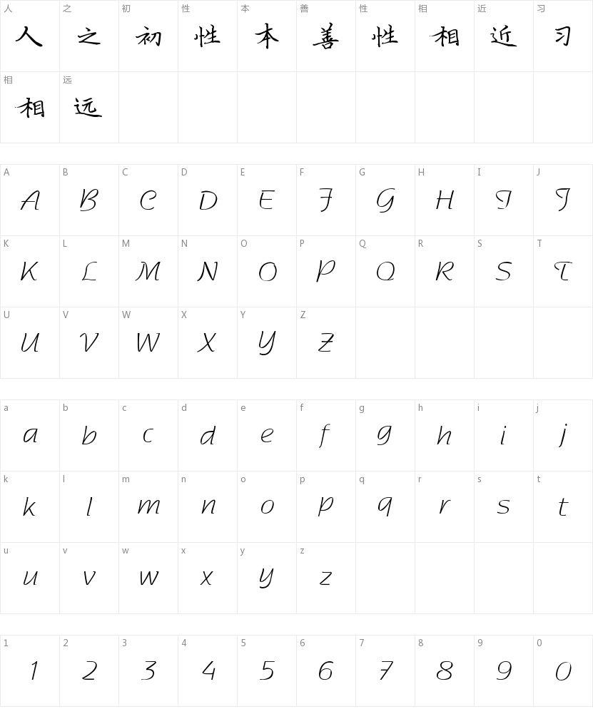 薛文轩钢笔楷体的字符映射图