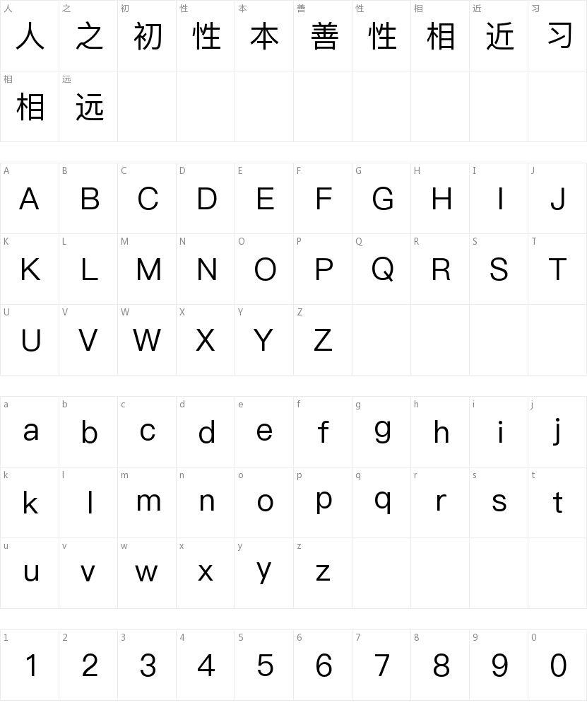 苹方常规体的字符映射图