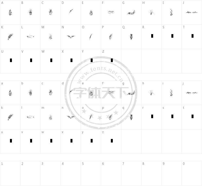 Penmanship Feathers的字符映射图