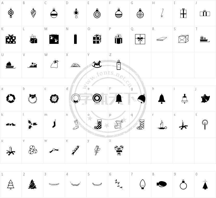 Carr Xmas Dingbats的字符映射图