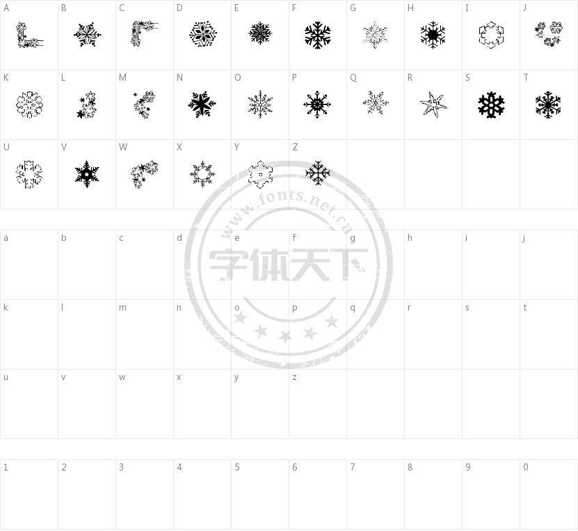 RYP Snowflake 1的字符映射图