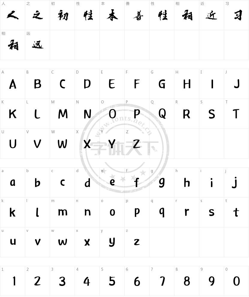 电影海报字体的字符映射图