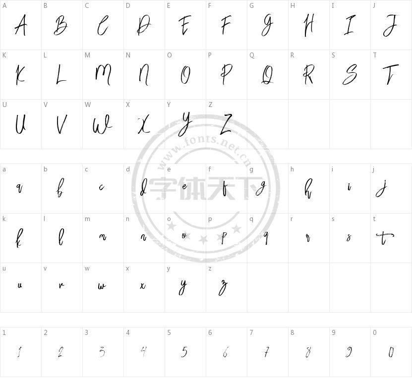 Bloomy Script Free的字符映射图