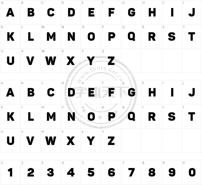 Panton Black Caps的字符映射图