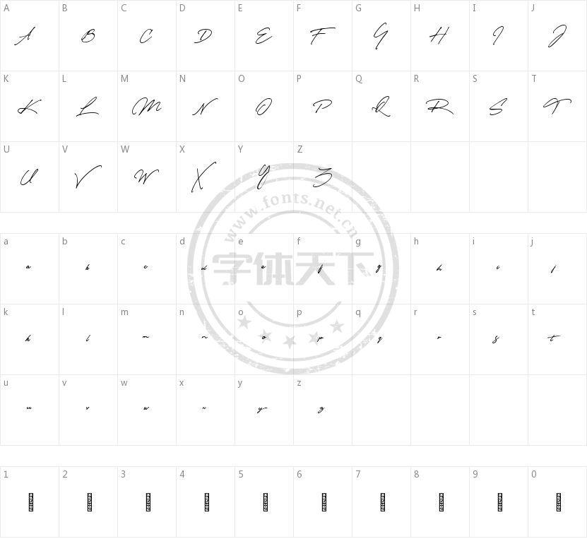 Matsury的字符映射图