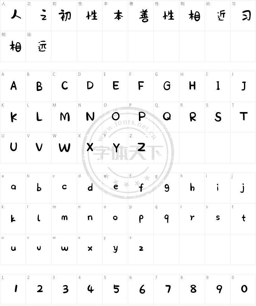 汉仪王小威体 W的字符映射图