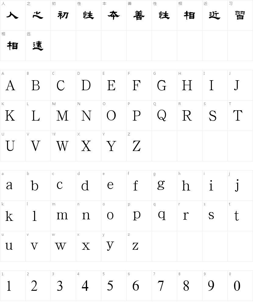 汉鼎繁特隶的字符映射图