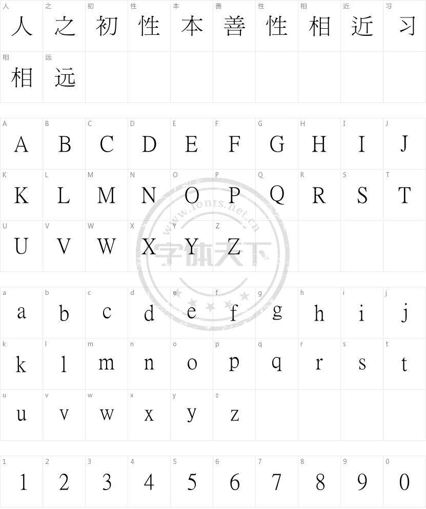 臺湾新细明体的字符映射图