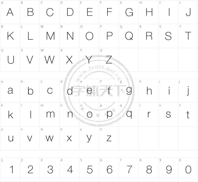 NimbusSanNovLig的字符映射图