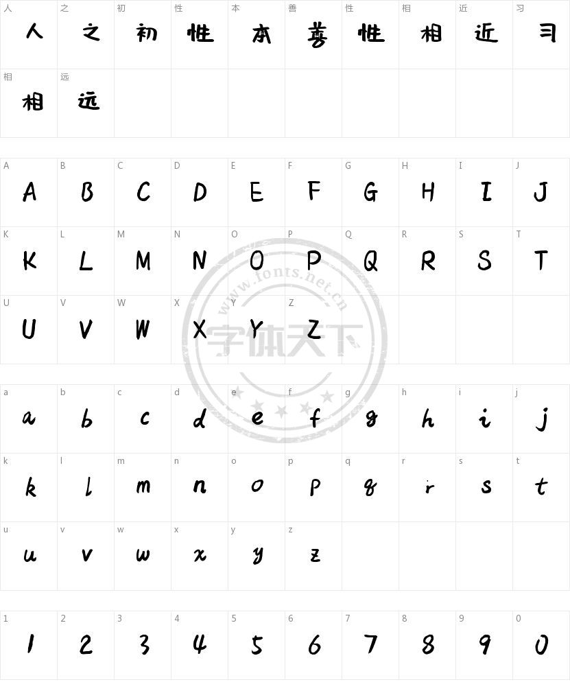 沐瑶软笔手写体的字符映射图