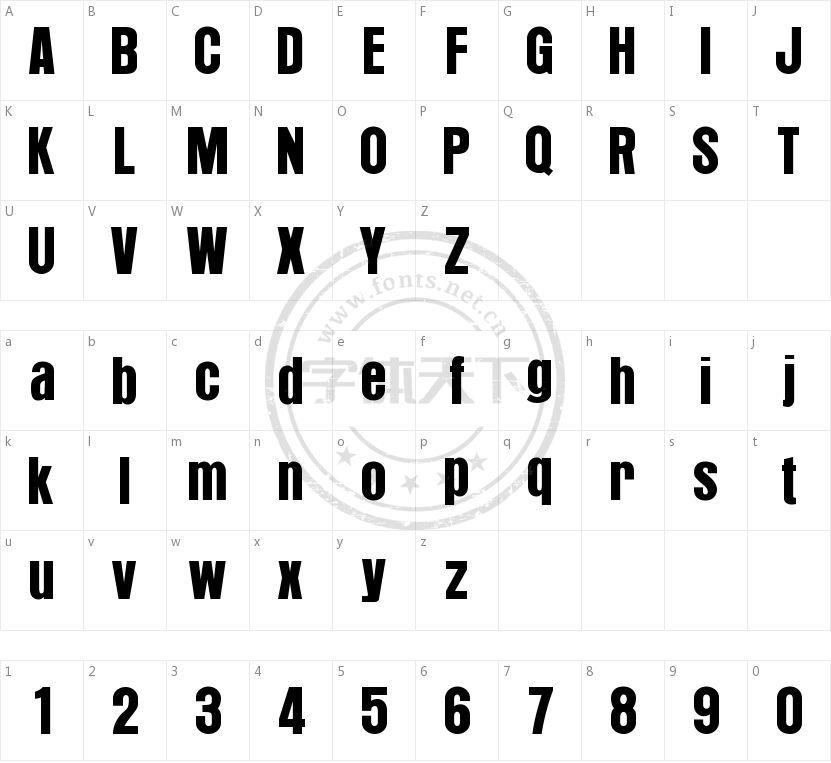 Arroyo Regular的字符映射图