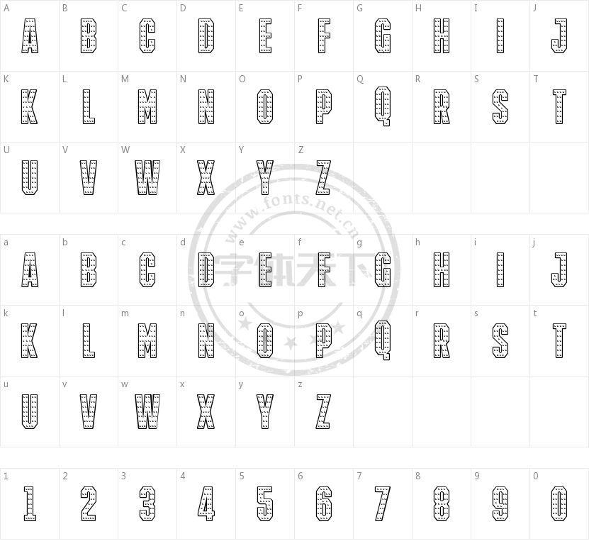 IRON MAN OF WAR 001A NCV的字符映射图