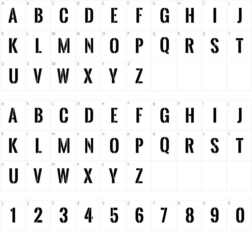 Oswald Stencil Regular的字符映射图
