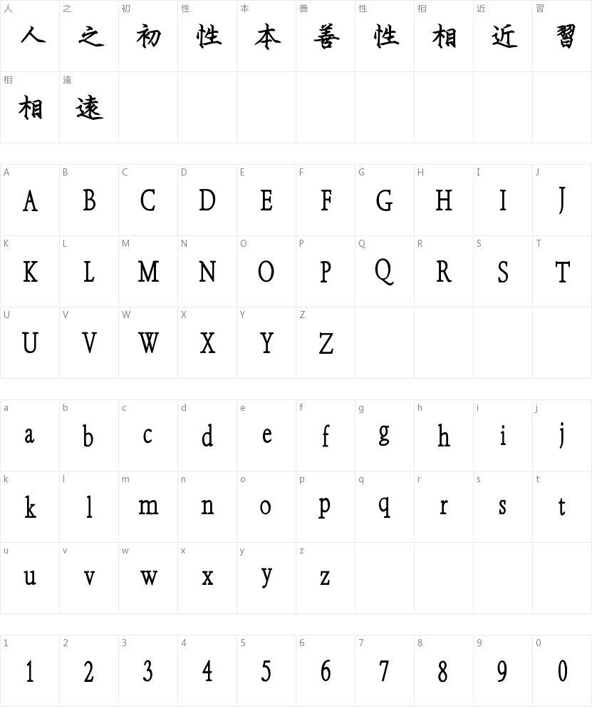刻石录钢笔鹤体的字符映射图