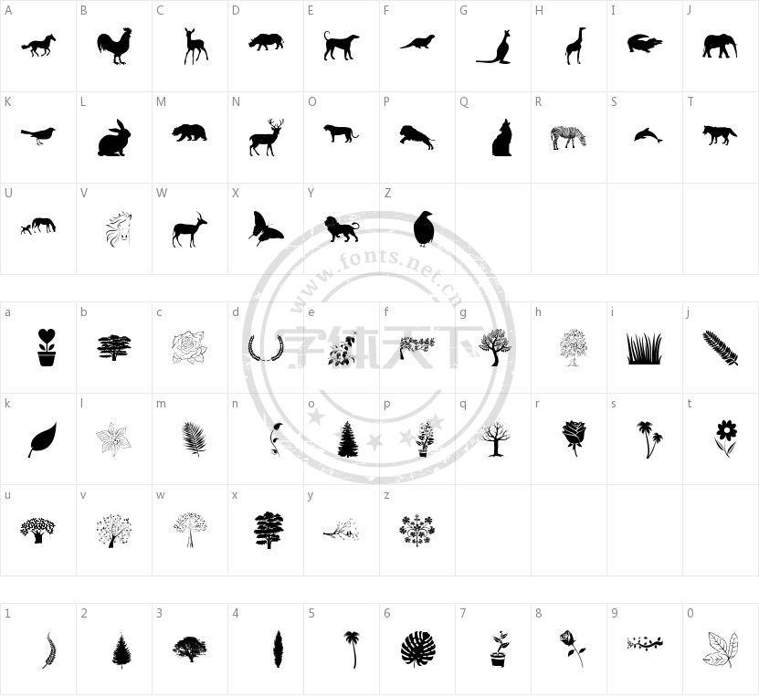 Nature Pro的字符映射图