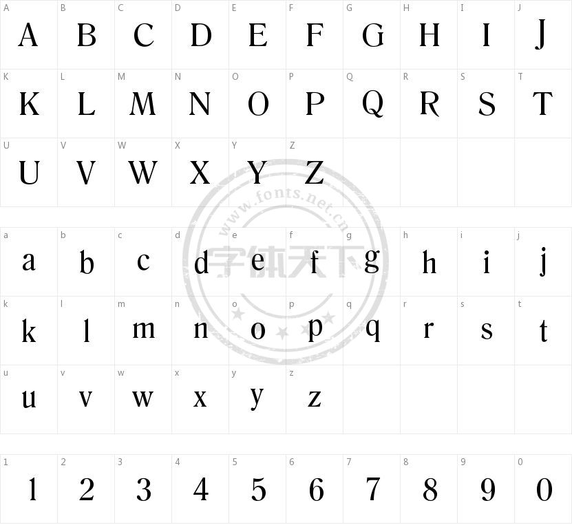 Romana Regular的字符映射图