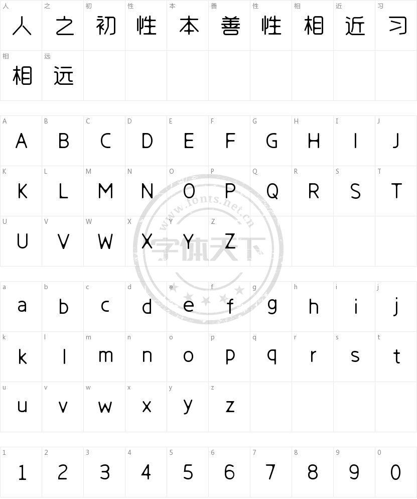 字心坊韵圆体的字符映射图