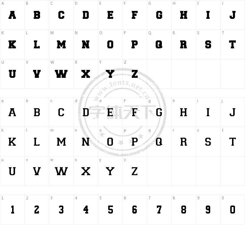 Team Numbers的字符映射图