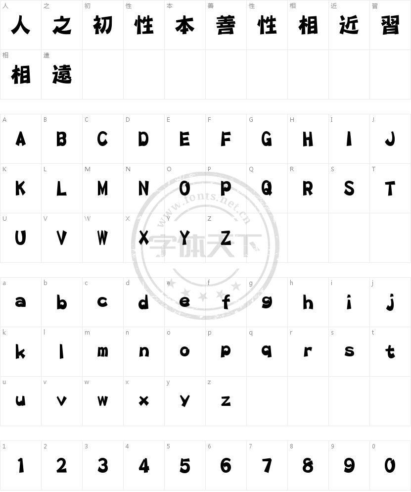 华康平剧体 W7的字符映射图