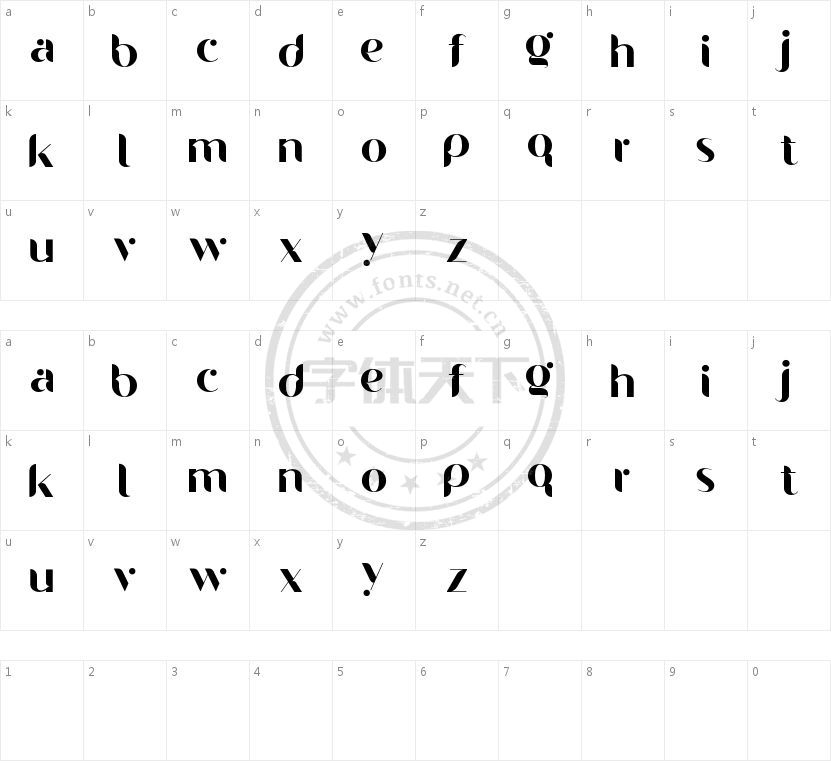 Gelato Soft Free的字符映射图