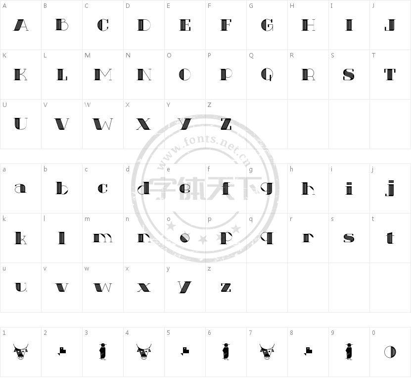 Txuleta Deco的字符映射图