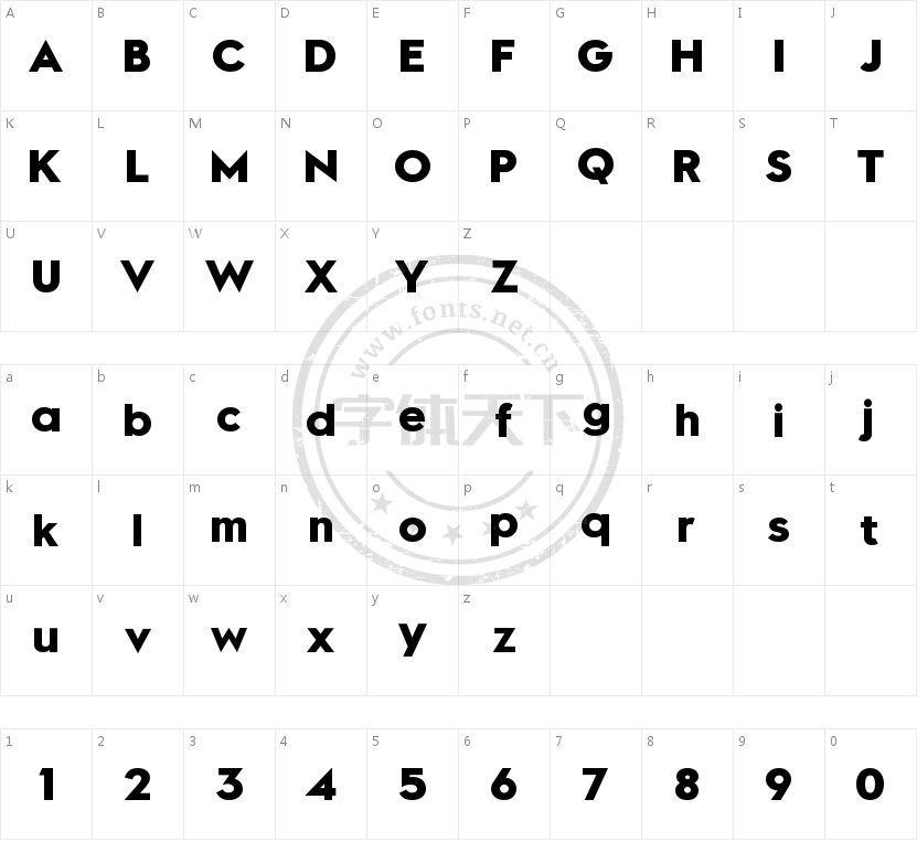 TenSans Bold的字符映射图