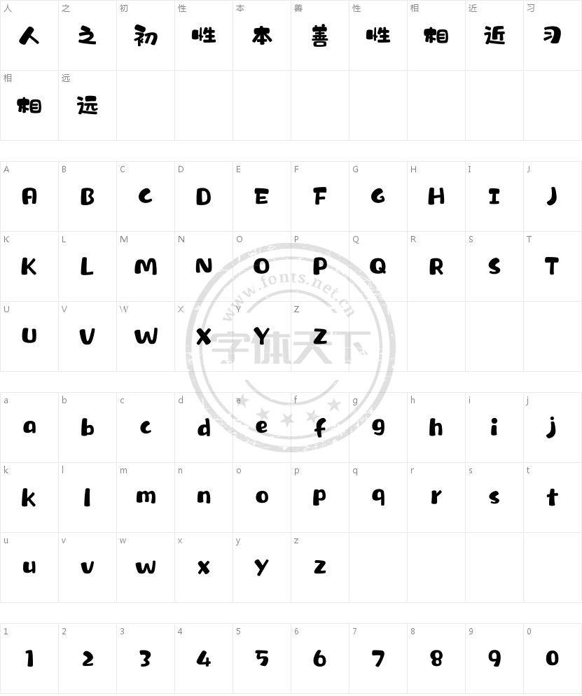汉仪糯米团 W的字符映射图
