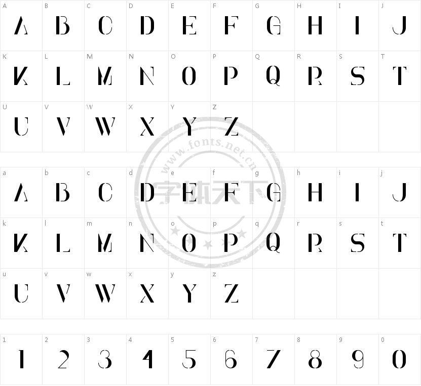 Elena Regular的字符映射图