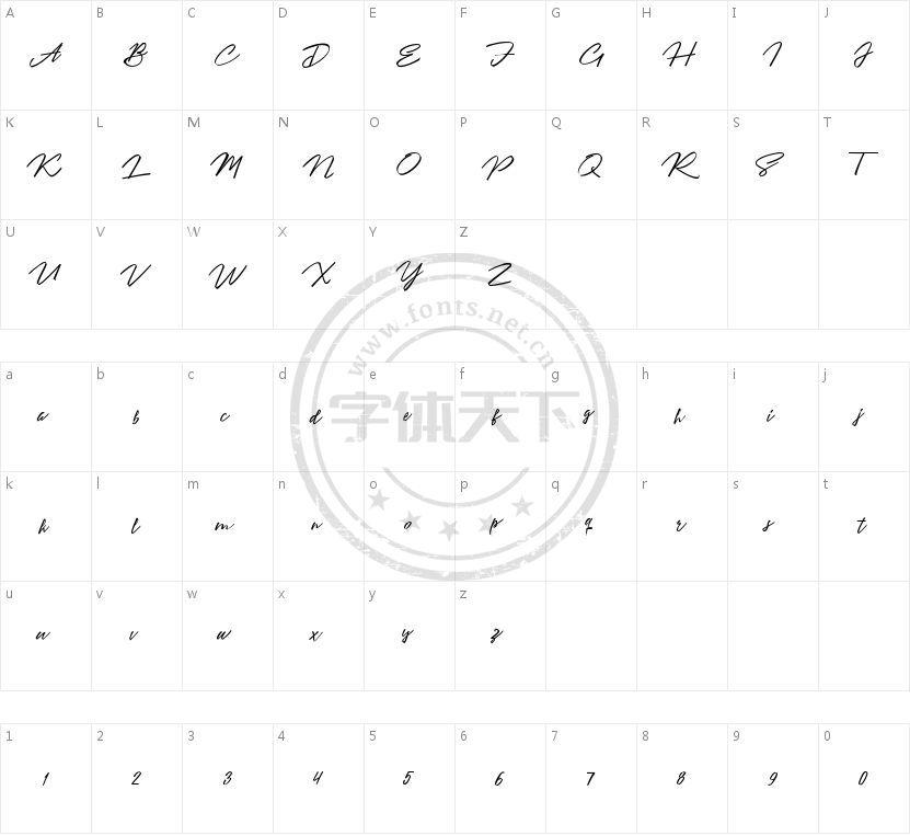 Angelina Script的字符映射图