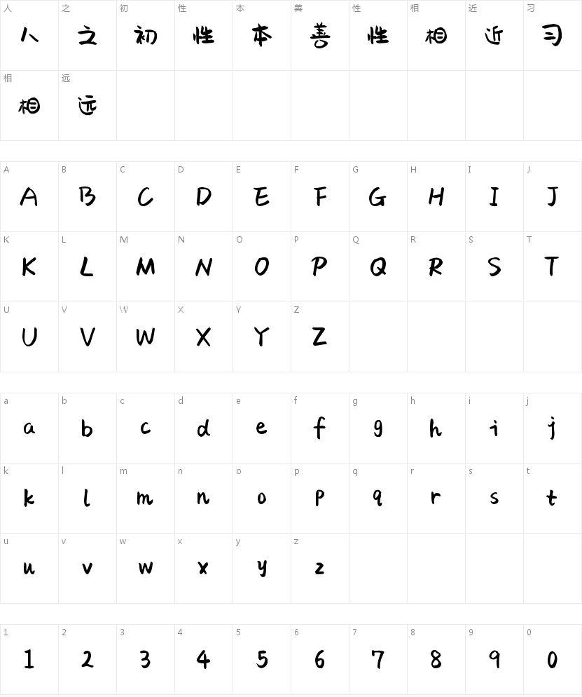 字魂17号-萌趣果冻体的字符映射图