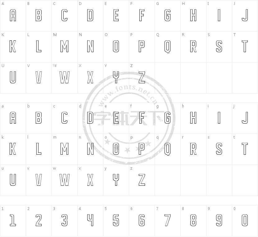 DISPLAYED outline的字符映射图