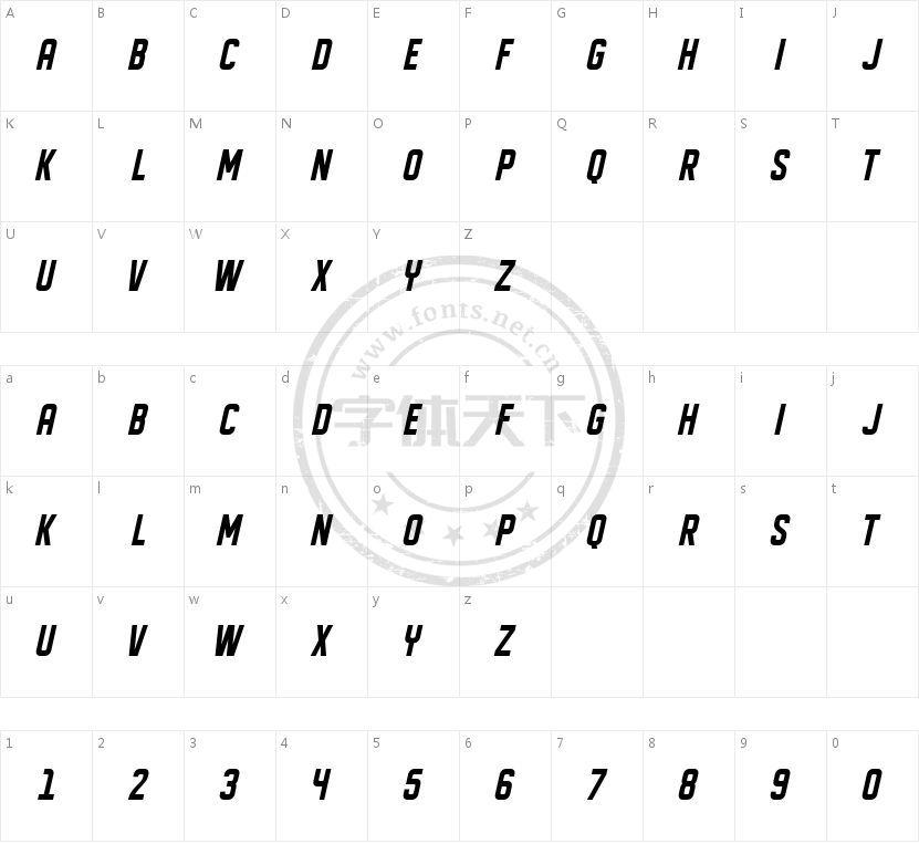 DISPLAYED Oblique的字符映射图