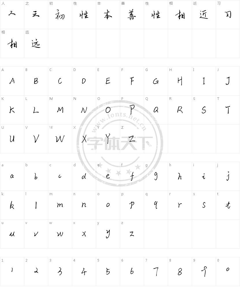 青叶手写体的字符映射图