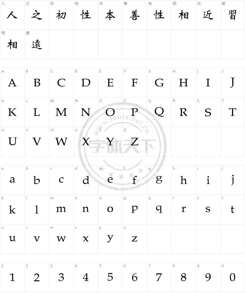 王漢宗魏碑體繁的字符映射图