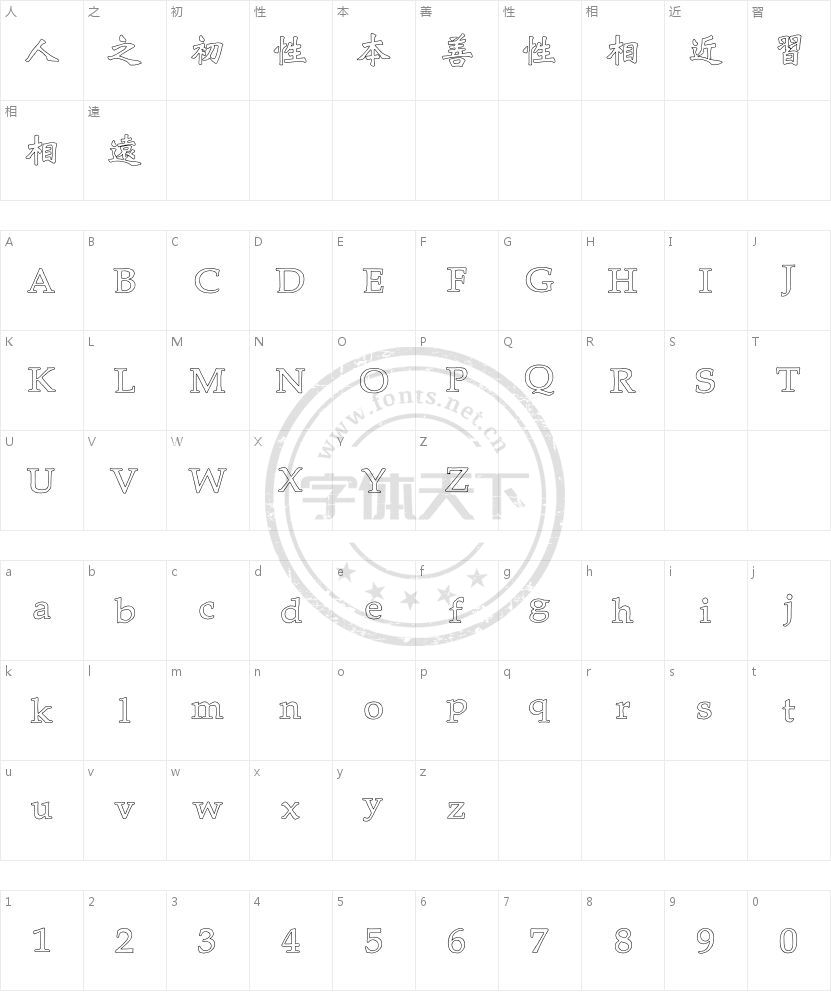 王汉宗新粗标魏碑体空心的字符映射图