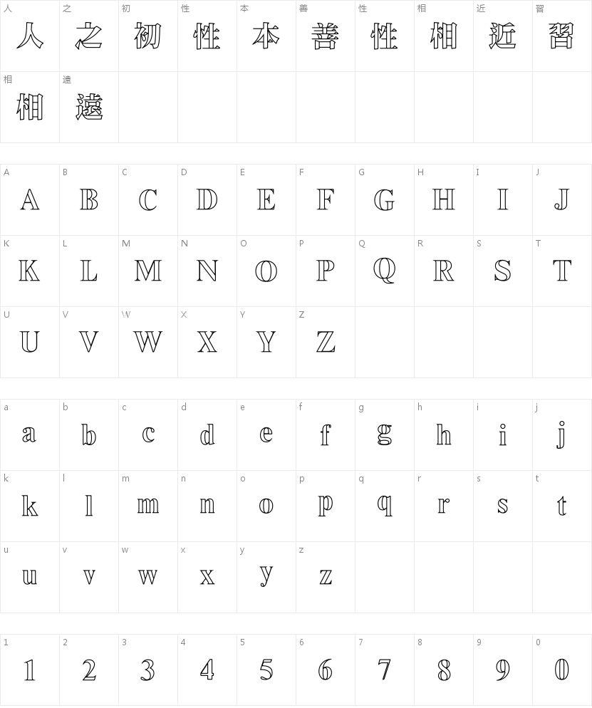 王汉宗超明体一线空的字符映射图