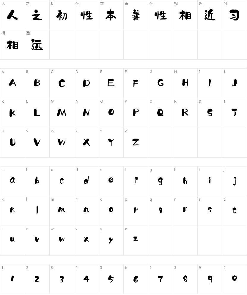 字魂20号-石头体的字符映射图